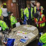 Volunteers prepare to tackle Pennington's litter at mission control: the St Mark's room
