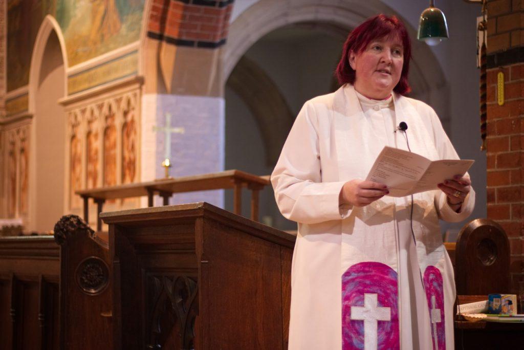 Rachel Noël leads a sermon