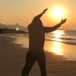 Tai Chi at sunrise by the beach