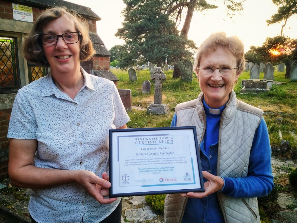 St Mark's are proud to be purchasing our electricity from 100% renewable sources. What can you do to make a difference through your own home bills? Teresa and Anne - our churchwarden and associate priest - proudly holding the proof!