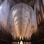 Winchester Cathedral interior at evening