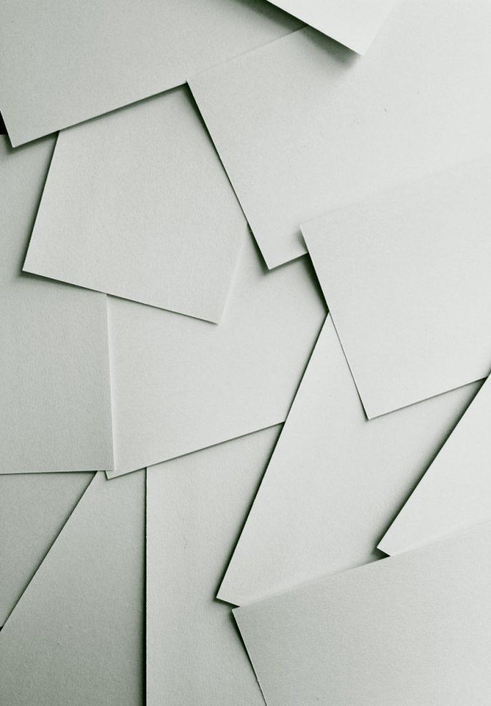 Pieces of plain card