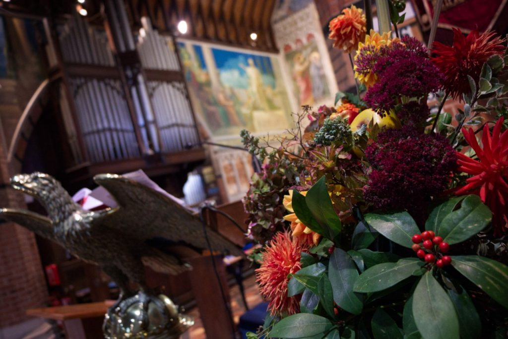 Flowers decorating the church for harvest