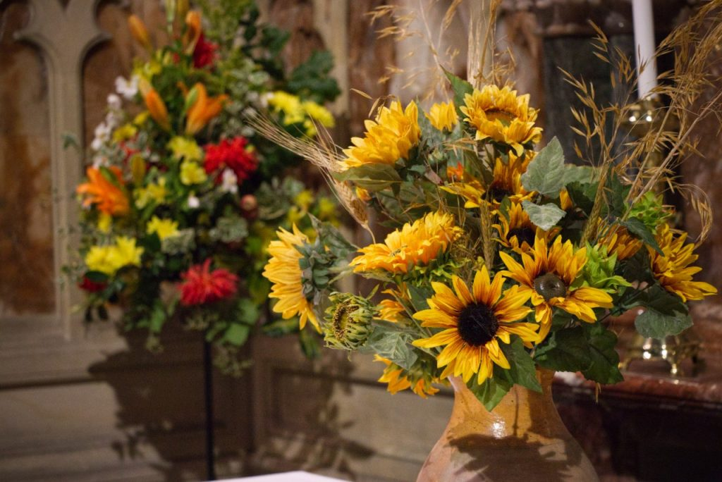 Flowers decorating the altar for harvest