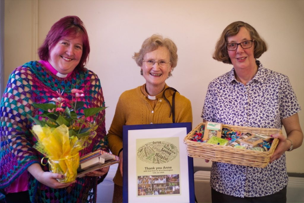 Rachel, Anne and Teresa with farewell gifts