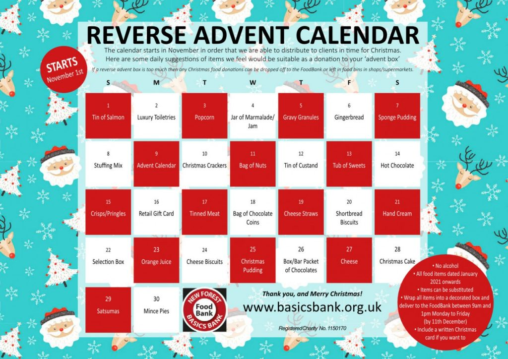 New Forest Basics Bank - Reverse Advent Calendar