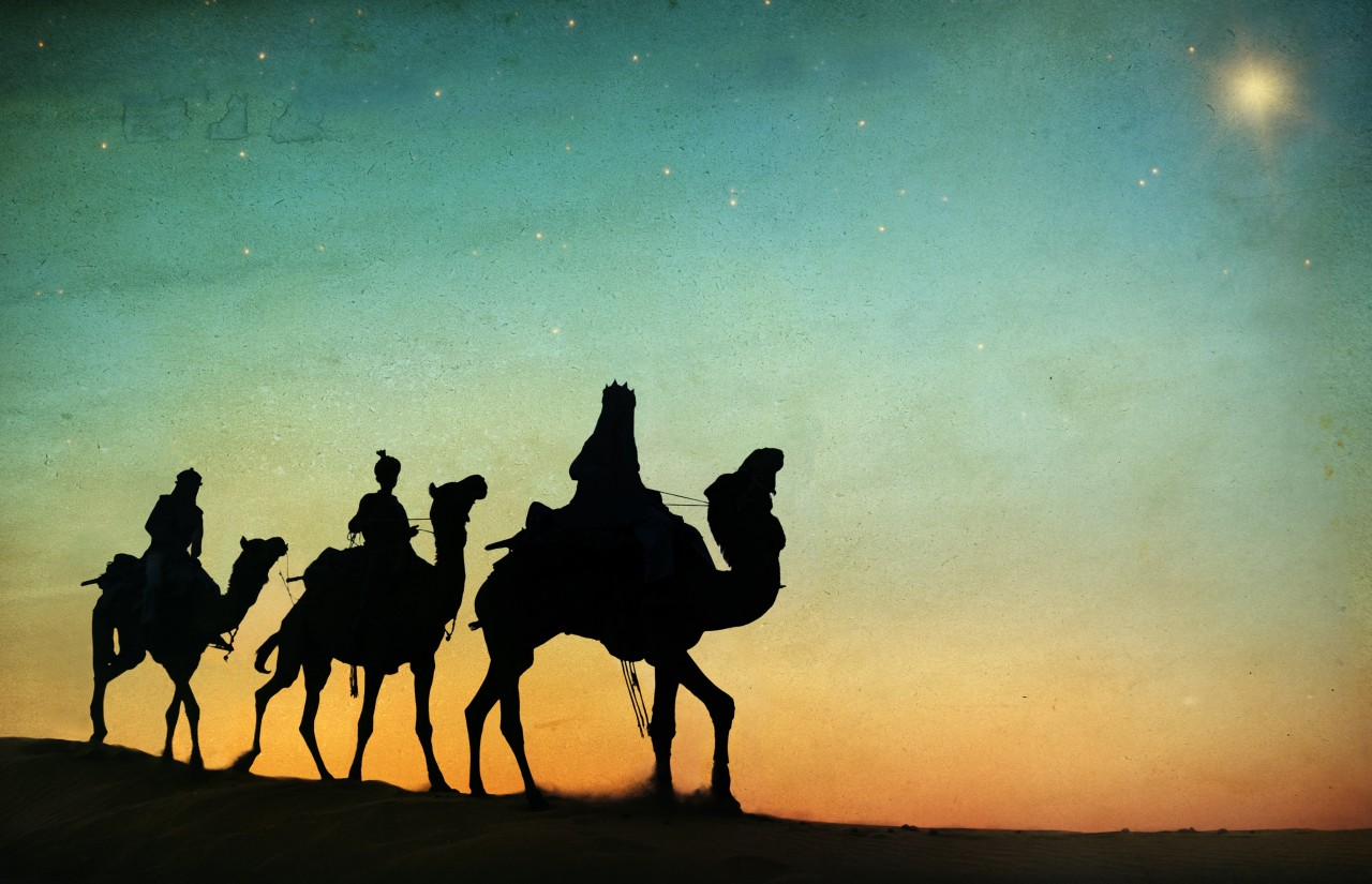 Three wise men on camels